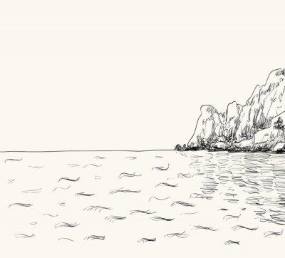 Plakát Vektorové letní přímořská krajina skica. Seaside view a horské