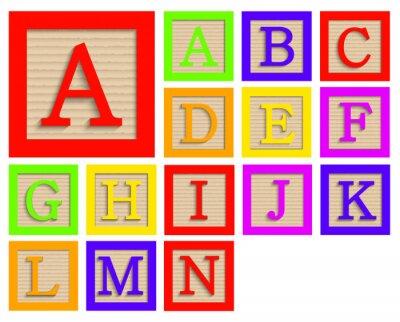 Plakát Vektorové moderní dřevěné abeceda bloky set