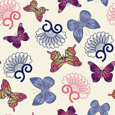 Plakát Vektorové motýly vzor.