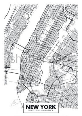 Plakát Vektorové plakátu mapu města New York