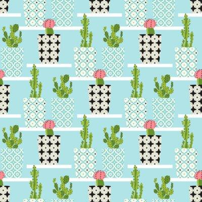 Plakát Vektorové vzorek s kaktusy. Roztomilé kaktus květiny v ozdobných květináčích. Ruční kresba ilustrace.
