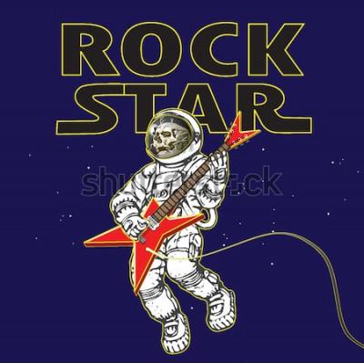 Plakát vektorový obrázek astronauta na obrázku rockového hudebníka ve vesmíru ve stylu kreslené grafiky