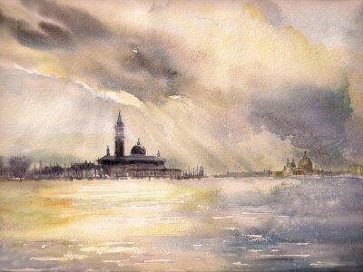 Plakát Venice, Italy v sunset.Picture vytvořen s akvarely.