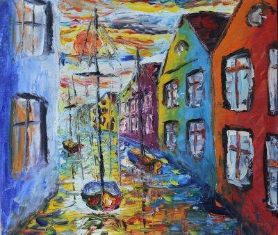 Plakát Venice loď plovoucí v ulicích, olejomalba