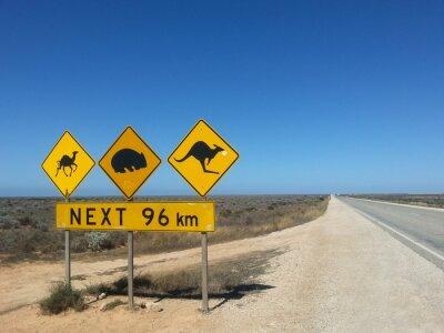 Plakát Verkehrsschild Next 96 km im Outback, Austrálie