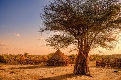 Plakát Vesnice Hamer poblíž Turmi, Etiopie
