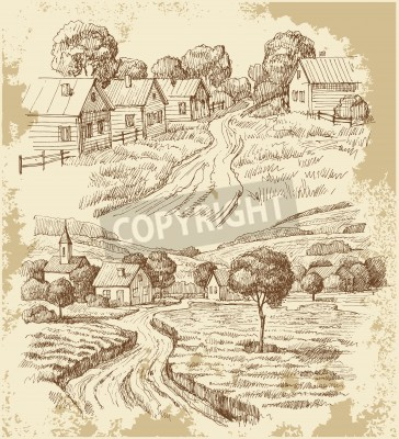 Plakát Vesnické domky náčrtek s jídlem