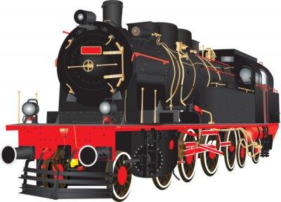 Plakát Veterán Heavy parní železniční nákladní lokomotiva na bílém