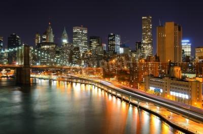 Plakát View of Downtown New York City and Brooklyn Bridge