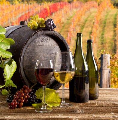 Plakát Víno zátiší, sklo, mladé víno a hrozen