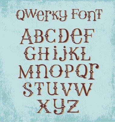 Plakát vinobraní bizarní ručně malovaná font se smíšenými velkými a malými písmeny