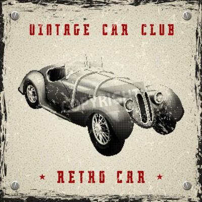 Plakát vintage design auto plakát s pixel tiskovou půltón tečka textury