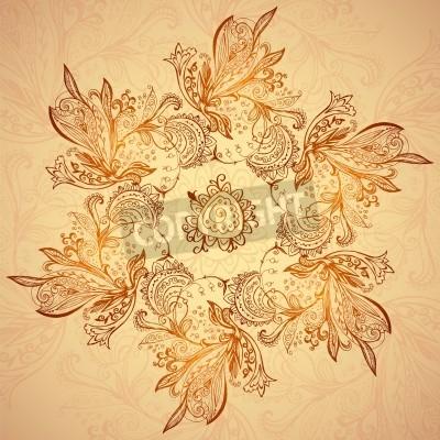 Plakát Vintage etnické vektor ornament mandala pozadí