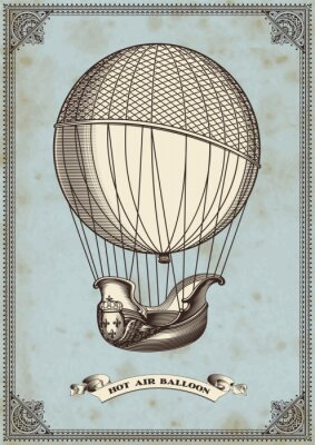 Plakát vintage karta s horkovzdušném balónu