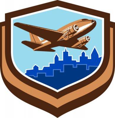 Plakát Vintage letadlo Take Off Cityscape Shield Retro