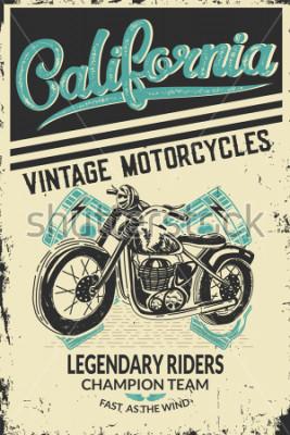 Plakát Vintage motorcycle placard with motorbike. Vector illustration.