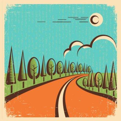 Plakát Vintage Nature landscape with road