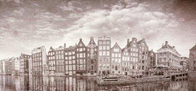 Plakát Vintage photo of Amsterdam budov