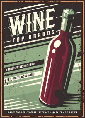 Plakát Vintage poster of a bottle of wine. Overlay vector texture. Minimalism old banner, vector image.