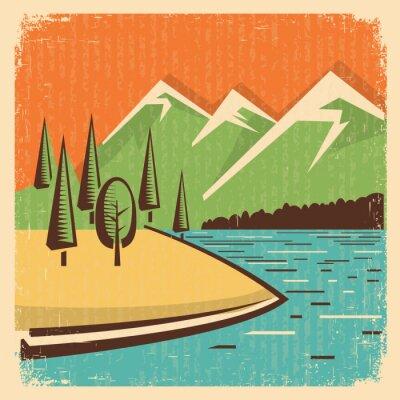 Plakát Vintage Příroda hory krajiny