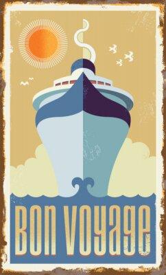 Plakát Vintage retro cruise ship vector design - metal sign poster