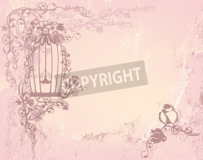 Plakát vintage rose garden with open cage and bird - shabby chic freedom concept background with place for your text