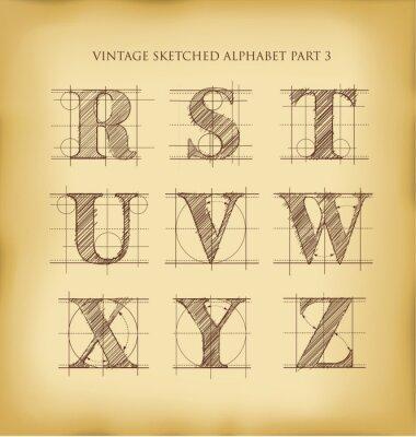 Plakát Vintage ručně kreslenou abeceda