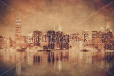 Plakát Vintage styl New York City panorama Manhattanu s grunge textury