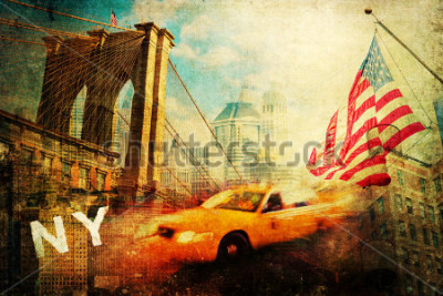 Plakát vintage style collage of New York city symbols