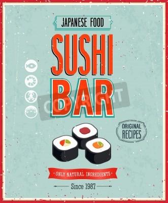 Plakát Vintage Sushi Bar Poster.