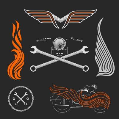 Plakát Vintage vektorové motocyklové loga, emblémy, šablony, štítky, symboly a motorce konstrukční prvky.