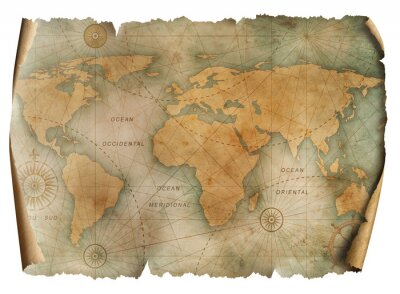 Plakát Vintage world map parchment isolated on white. Based on image furnished from NASA.