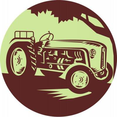 Plakát Vintage Zemědělské traktory Circle Woodcut