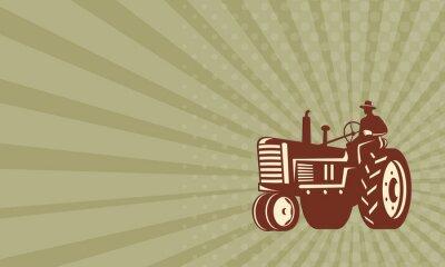 Plakát Vizitka Farmer Driving Vintage Tractor Retro
