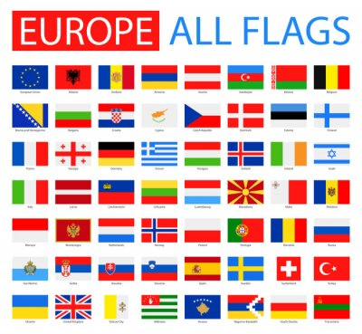 Plakát Vlajky Evropy - Full Vector Collection. Vektor Sada plochých evropských vlajek.