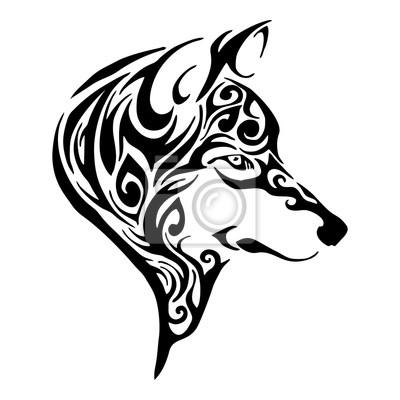 Vlci Hlava Tribal Tetovani Skica Kresleni Ojedinelych Vektoru