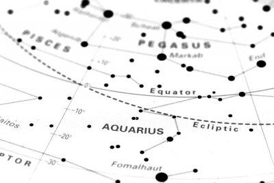 Plakát Vodnář zvěrokruh hvězdná mapa. Hvězdné znamení Vodnáře na astronomie hvězdy mapu.