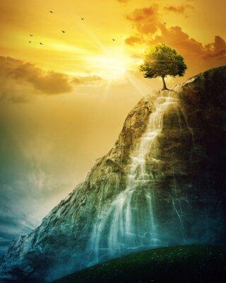 Plakát Vodopád strom