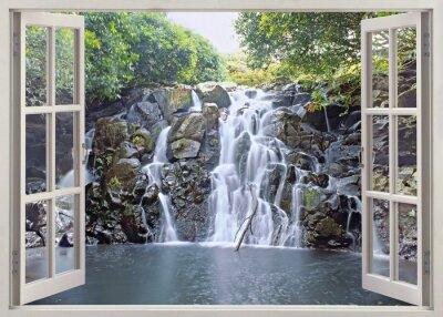 Plakát Vodopád výhled z otevřeného okna