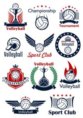 Plakát Volejbal herní ikony, znaky a symboly