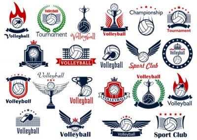 Plakát Volejbal sportovní hry ikony a symboly