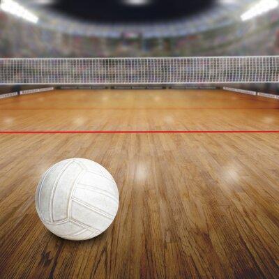Plakát Volejbalové hřiště s míčem na dřevěnou podlahu a kopírování prostor