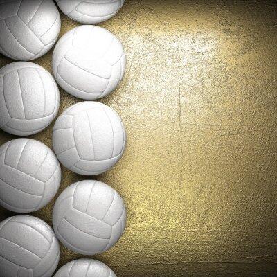 Plakát Volejbalový míč a zlaté zdi na pozadí