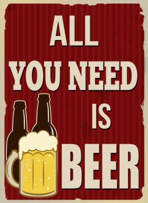 Plakát Vše, co potřebujete, je pivo retro plakát