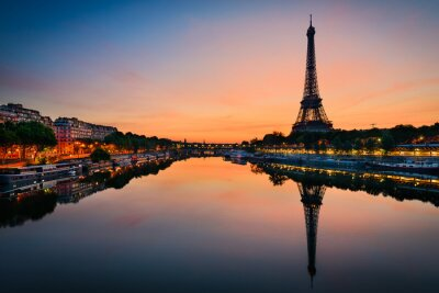 Plakát Východ slunce na Eiffelovu věž, Paříž