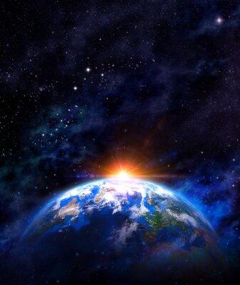 Plakát východ slunce nad Zemi ve vesmíru