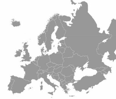 Plakát Vysoce kvalitní mapa Evropy s hranicemi regionů