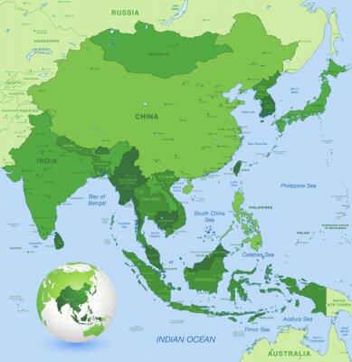 Plakát Vysoká detail vektorové mapy Dálném východě Asie