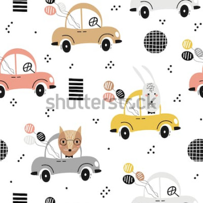 Plakát Vzor bezešvé baby s roztomilý fox, králík v autě. Kreativní děti textura pro textil, textil, tapety a obaly. Vektorové ilustrace