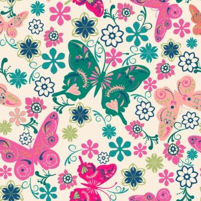 Plakát vzor motýlů a flowers- ilustrace